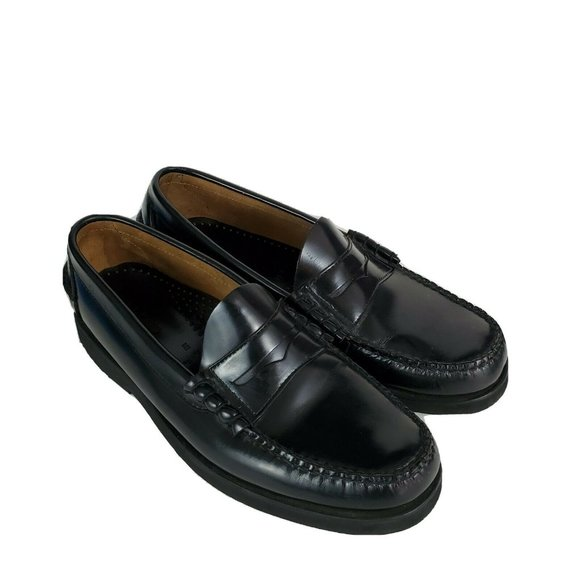 LL Bean Men's Black Penny Loafers Leather Shoes